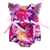 Summer Purple Lace born Baby Girl Flower Romper bow-knot Jumpsuit Outfit Sunsuit Clothes CA