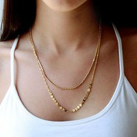 35568 Double layer gold-plated fashion necklace by CHIQ CLUB