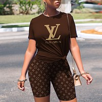 Louis Vuitton LV Women Fashion Short Sleeve Top Shorts Two-Piece