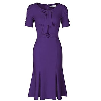1950's Style Short Sleeve Mermaid Dress, Sizes Small - 2XLarge (Purple)