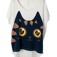 High Low T-shirt with Cartoon Cat Face Print