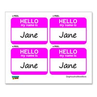 Jane Hello My Name Is - Sheet of 4 Stickers