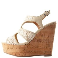Crochet Lace Cut-Out Platform Wedges by Charlotte Russe - Off White
