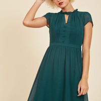 Oh Say Can Museum A-Line Dress in Teal | Mod Retro Vintage Dresses | ModCloth.com