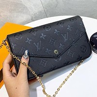 LV  Louis Vuitton LV New fashion monogram leather shoulder bag crossbody bag handbag Black