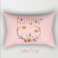 Fall Autumn Pink Blush Pillow Cover Antlers Pumpkins Flowes Indoor or Outdoor Material  Pillow Case Decor Square Pillow