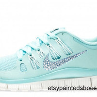 Nike Free 5.0+ Shoes - Glacier Ice / Night Factor / Summit White - Bedazzled with 100% Swarovski Elements Crystals