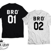 BRO 01 BRO 02 brothers shirts, brother from another mother, friends t shirts, brother t shirts, bro tees