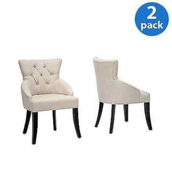 New Cream White Halifax Arm Chairs Set of 2 Luxury Dining Living Room Furniture