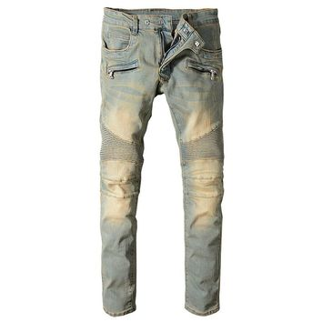 Men Jeans Straight Full Length Casual Biker Jeans Fashion Skinny Jeans Men Stretch Ripped Jeans For Men Hip Hop Denim Pants
