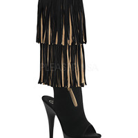 Fringed Knee High Suede Boots-Stripper Boots