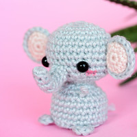 Amigurumi elephant crochet, Mini elephant plush, Tiny crochet elephant plushie, Stuffed animal elephant, Mini amigurumi animals, Mini animal