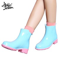 Hellozebra Rubber Rain Boots Women Fashion Short Tube Ankle Lady Water Boots Rubber Shoes Anti-skid Girls Welly 2017 New Design