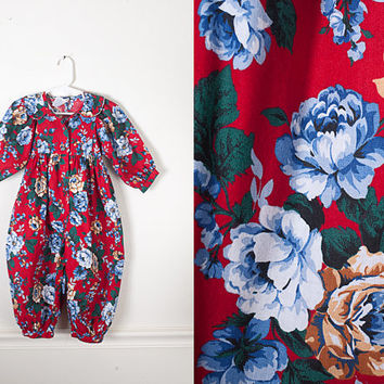 1980s Polly Flinders Bubble Romper / Vintage 80s Baby Romper / Retro Baby Clothes / Baby Overalls / Baby Shower Gift / Floral Print Romper