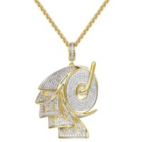 Men's 14k Gold Finish Iced Out Bill Money Roller Pendant