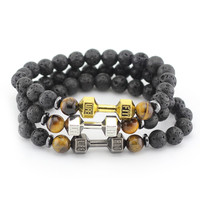 8mm Black Lava Stone Beads with Mix Color Alloy Metal Fitness Energy Dumbbell Charm Bracelets, GYM barbell Jewelry