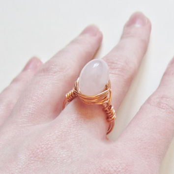 Rose Quartz Ring, Wire Wrapped Ring, Crystal Ring, Copper Wire Ring, Wire Wrapped Rose Quartz, Gemstone Ring