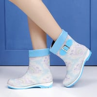 New Fashion Winter Women Patent Leather Rainboot 2016 Warm Short Plush Mixed Colors Buckle Woman Waterproof Ankle Boots Z286