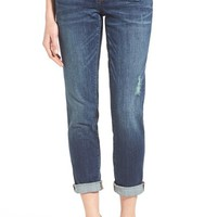 Caslon® Distressed Stretch Crop Boyfriend Jeans (Regular & Petite) | Nordstrom