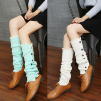 New button lace lace knee boots over long socks