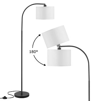 Arc Floor Lamp, LED Floor Lamp with Shade, Ambimall Adjustable Standing Lamp Modern Design, Mid Century Modern Floor Lamp for Living Room, Bedroom, Dining Room, Study Room and Office(Without Bulb) White Floor Lamp