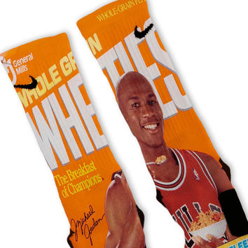 Wheaties MJ Michael Jordan Custom Nike Elite Socks