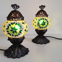 Set of Green Dreams Design lamp with delicate hand crafted copper base, bedside lamps, Night lamps, lampshades, Turkish lamps, Stand lights
