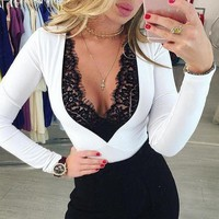 Fashion Women Sexy Leotard Top Lace Neck Bodysuit Ladies Lace Up Plunge Jumpsuits