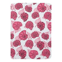 Pink Snails And Leaves Nature Lover Pattern Baby Blanket