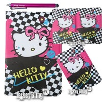 Kitty iPad Mini Checkered & HOT PINK Faux Leather Case with FREE Stylus