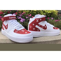 """Supreme airforce ones mid L V"""" (with front and back tab) Customs red"""