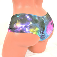 UV Glow Galaxy Space Print Lowrise Ultra Cheeky Booty Shorts  -E7218