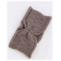 Simple Knot Accent Knit Head Wrap/Head Band~Mocha