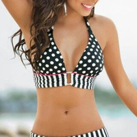Stripe Banded Bikini with Polka Dots Halter Top
