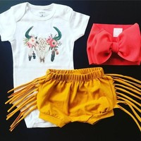 Fashion Newborn Baby Girls Deer Tops Romper Tassels Pants Shorts Outfits Clothes