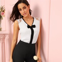 Elegant Bow Detail V Neck Blouse Women Sleeveless Lace Trim Blouses Office Ladies Workwear White Top