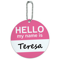 Teresa Hello My Name Is Round ID Card Luggage Tag