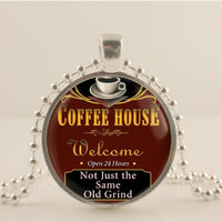 """Coffee house, 1"""" glass and metal Pendant necklace Jewelry."""