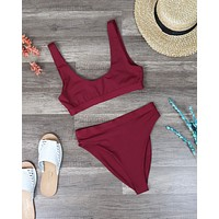 Dippin' Daisy's Sporty Swim Top + Banded High Waist High Cut Cheeky Bottom Separates - Dark Burgundy