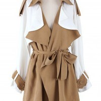 Khaki Oversize Chiffon Trench Coat by Chic+ - New Arrivals - Retro, Indie and Unique Fashion