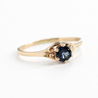 Vintage 10k Yellow Gold Genuine Sapphire Ring - Mid-Century Retro Size 9 Blue Gemstone Solitaire Church & Company
