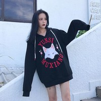 2017 Cute Fox Harajuku Hoody Women Fashion Autumn Winter High Quality Long Sleeve Pullover Tops with Hat Loose BF Style Japanese
