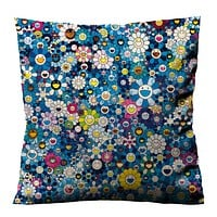 TAKASHI MURAKAMI FLOWER BLUE Cushion Case Cover