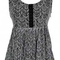 Lily Boutique Lydia Lace Babydoll Top in Black Lily Boutique