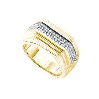 Diamond Micro Pave Mens Ring in 10k Gold 0.3 ctw