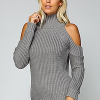 Cable Knit Cold Shoulder Sweater - Grey