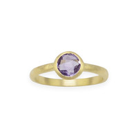 Brushed Finish 18 Karat Gold Plated Amethyst Ring