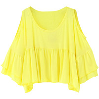 Shoulder Cutout Pleated Cropped Top