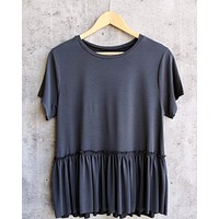 Dreamers - Dainty Peplum Top in Charcoal