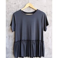 Final Sale - Dreamers - Dainty Peplum Top in Charcoal